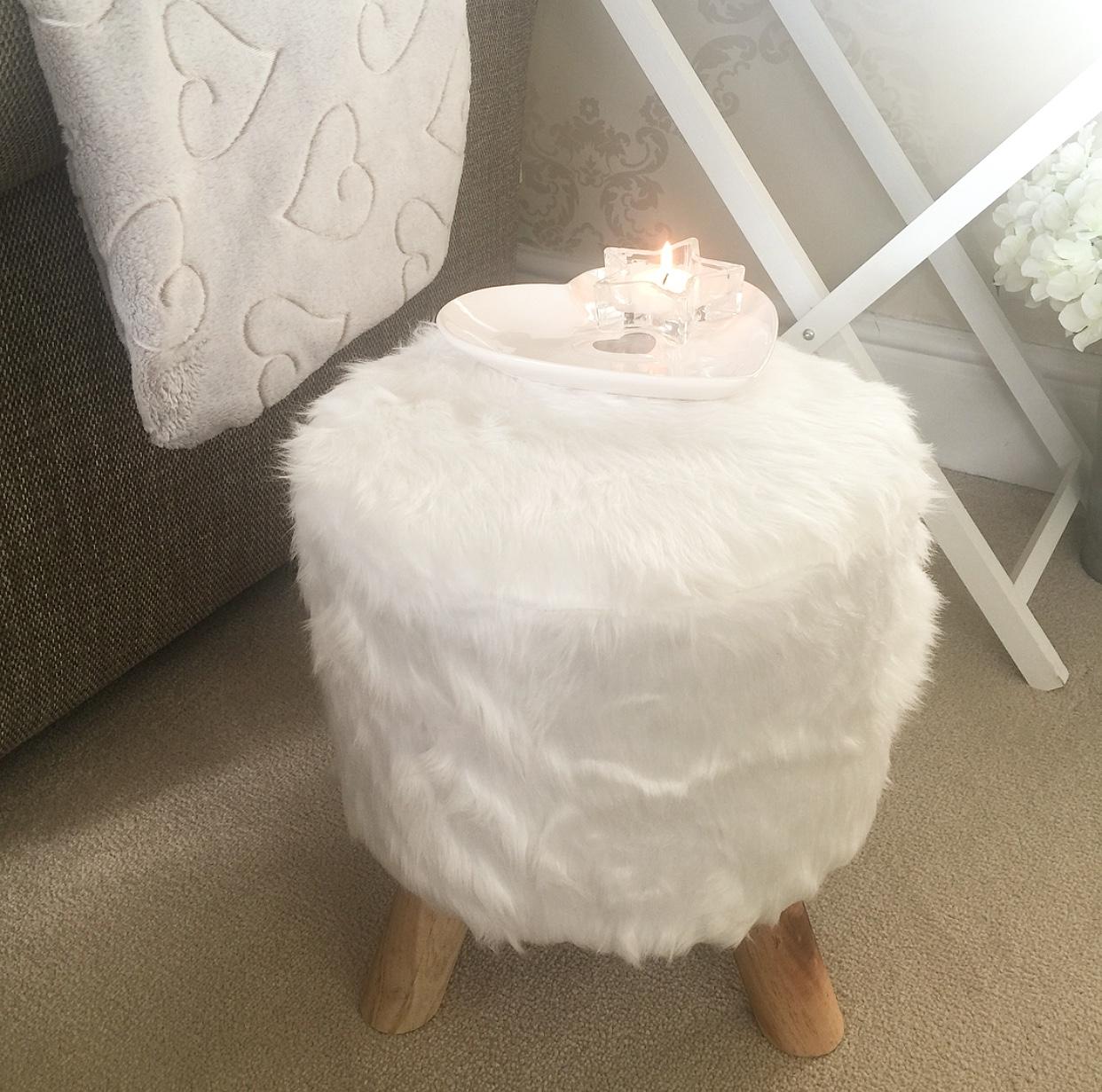 White Fluffy Stool Table Little Love Of Mine